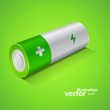 realistic battery vector set