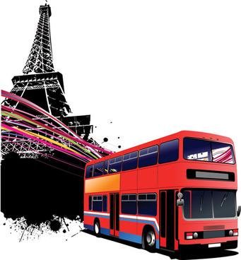 realistic buses urban vector set