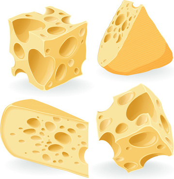 realistic cheese icons vector