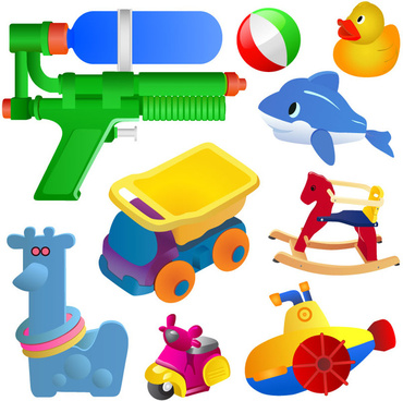 realistic children toys creative design graphics