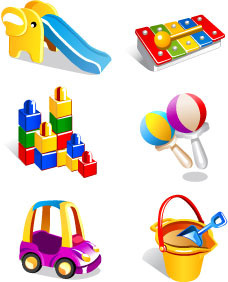 realistic children toys creative design graphics