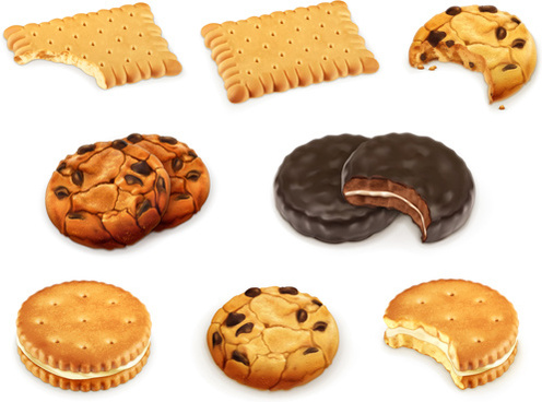 realistic delicious cookies design vector