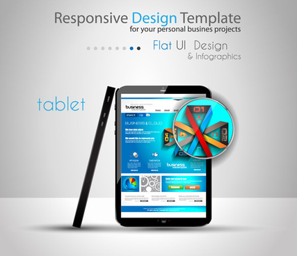 realistic devices responsive design template vector