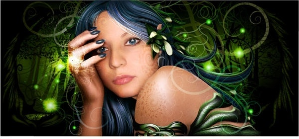 realistic drawing wizard beauty vector