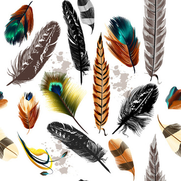 realistic feathers vector seamless pattern