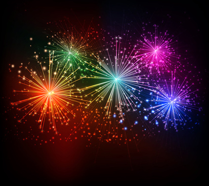 realistic fireworks colored background vector graphics