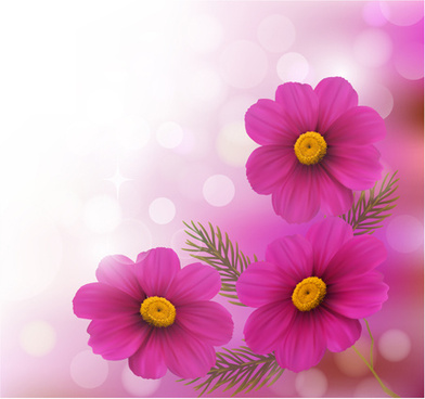 realistic flower design background art vector