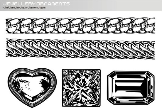 realistic gold and silver chain diamond gems vector