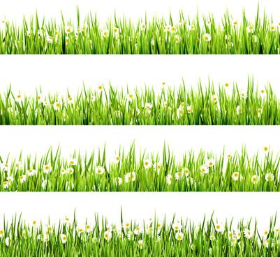 realistic grass borders design vector