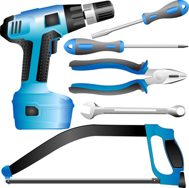 realistic hardware tools vector graphic set