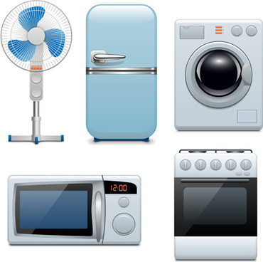 realistic household appliances vector illustration
