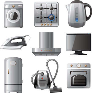 realistic household appliances vector illustration