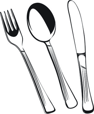 realistic kitchen cutlery design vector graphics