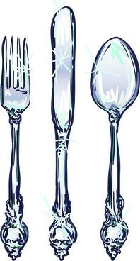 realistic kitchen cutlery design vector graphics