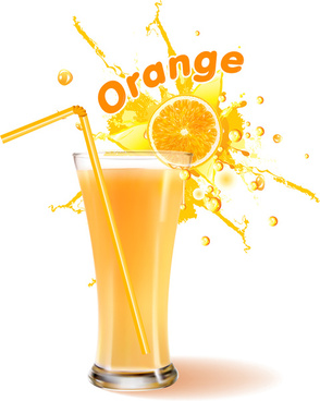 realistic orange juice glass vector illustration