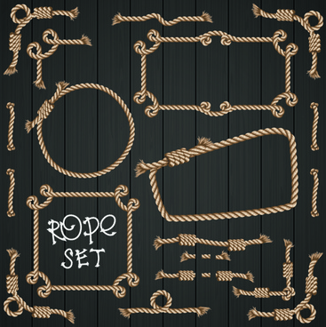 realistic rope border and frame vector