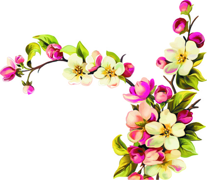 realistic small flowers vector design