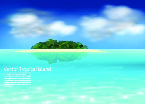 realistic tropical islands backgrounds vector