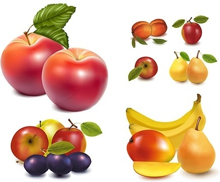 fresh fruit icons collection colored shiny realistic style