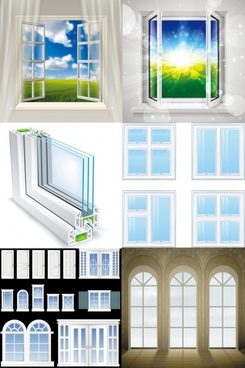 realistic windows and doors vector