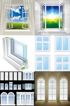 realistic windows and doors vector