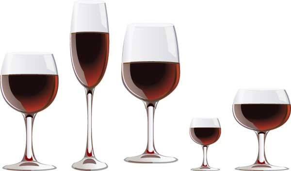 realistic wineglass with wine vector