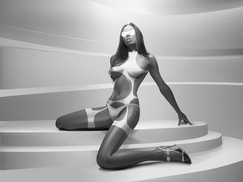 realistic woman vector