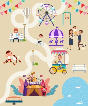 recreational park layout background colored cartoon design