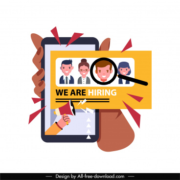 recruitment application icon smartphone personnel magnifier sketch