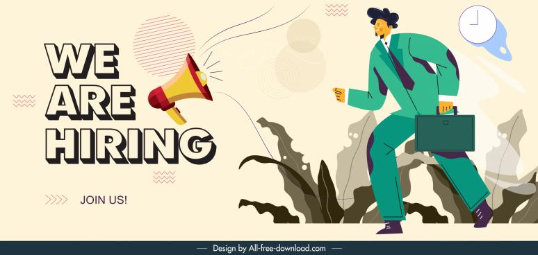 recruitment banner megaphone employee cartoon character sketch