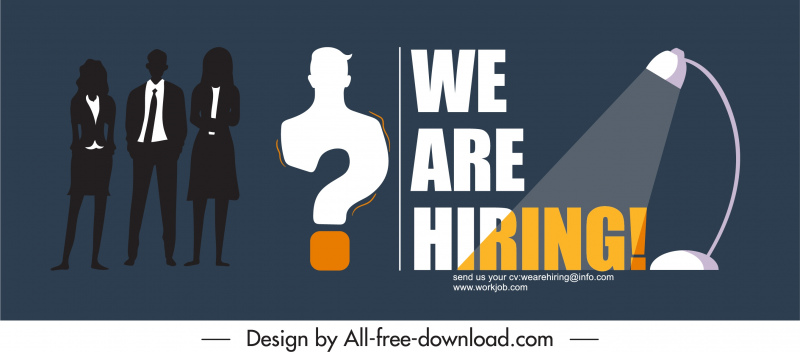 recruitment banner personnel silhouette questionmark lighting decor