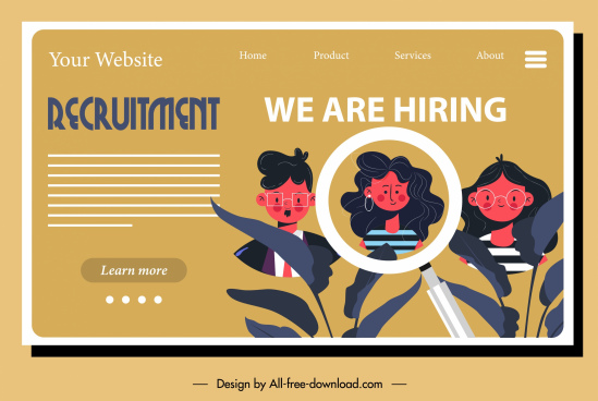recruitment poster web page design cartoon characters sketch