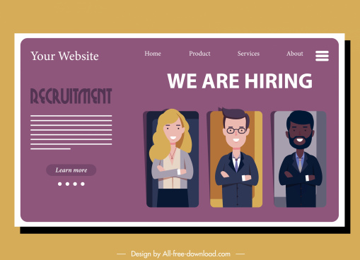 recruitment web page template candidates sketch cartoon characters