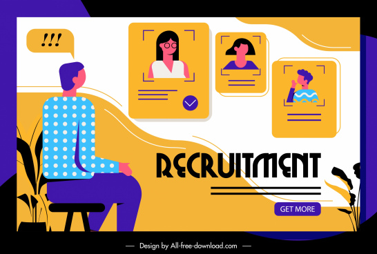 recruitment web poster colored flat cartoon sketch