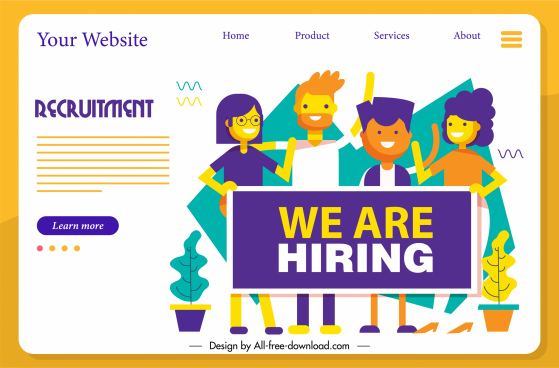 recruitment webpage poster personnel sketch flat cartoon characters