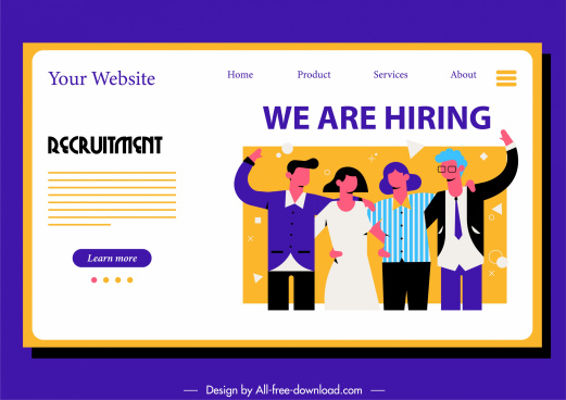 recruitment webpage template cartoon characters sketch colorful flat