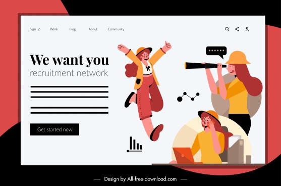 recruitment webpage template people sketch cartoon design
