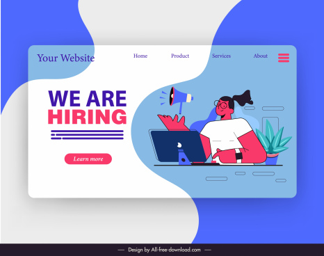 recruitment website template flat cartoon character sketch
