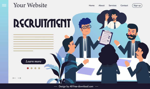 recruitment website template workplace meeting sketch cartoon design