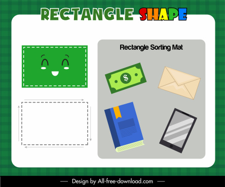 rectangle shape educational game template cute design