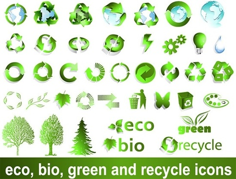 ecology design elements green globes recycles trees sketch