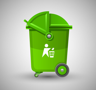 recycle bin vector design in green