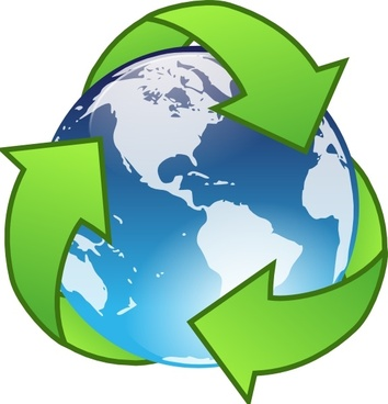 Recylcle Blue Crystal Earth Globe clip art