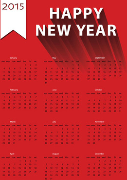 red15 calendar vector design