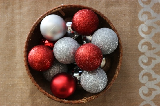 red 038 silver ball ornaments in basket