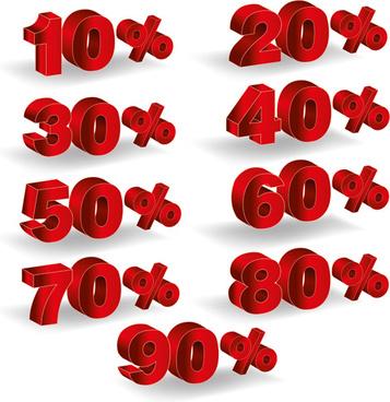 red 3d discounts number design vector