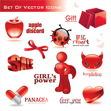 red 3d icon vector