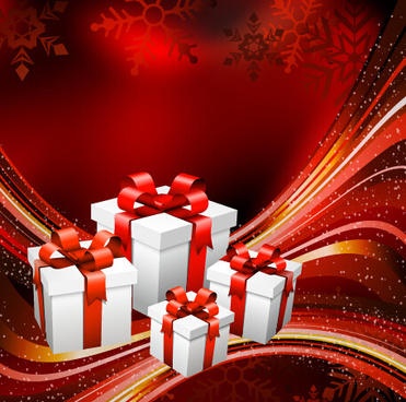 red abstract christmas gift background vector