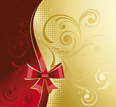 red and golden floral background vector