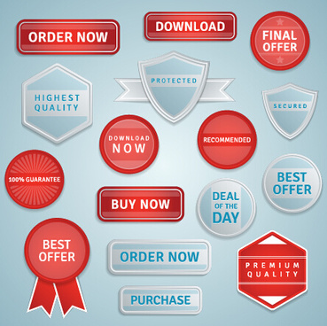 red and gray sale labels and badge vector